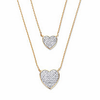 SETA JEWELRY Round Diamond Two-Tone Heart-Shaped Double-Strand Necklace 1/4 TCW 18k Gold-Plated 18