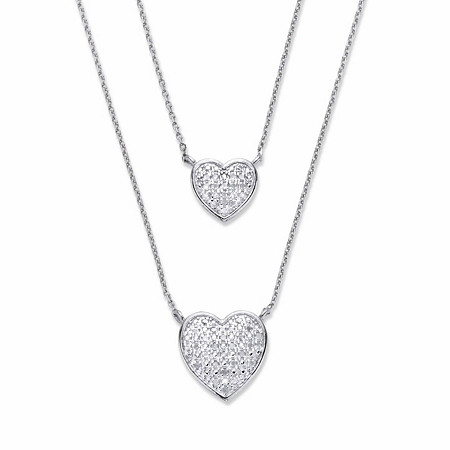 "Round Diamond Heart-Shaped Double-Strand Necklace 1/4 TCW  Platinum-Plated18"" at PalmBeach Jewelry"