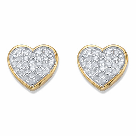 Round Diamond Two-Tone 18k Gold over Sterling Silver Heart-Shaped Stud Earrings 1/4 TCW in 18k Gold over Sterling Silver at PalmBeach Jewelry