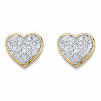 Round Diamond Two-Tone 18k Gold over Sterling Silver Heart-Shaped Stud Earrings 1/4 TCW in 18k Gold over Sterling Silver