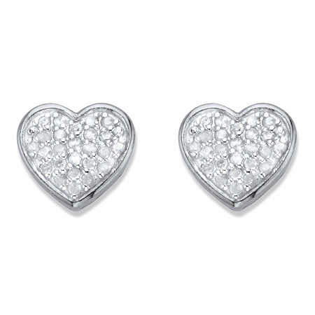 Round Diamond Heart-Shaped Stud Earrings 1/4 TCW in Platinum over Sterling Silver at PalmBeach Jewelry