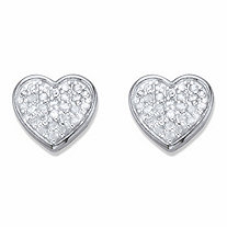 Round Diamond Heart-Shaped Stud Earrings 1/4 TCW in Platinum over Sterling Silver