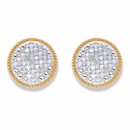 Round DIamond Stud Earrings 1/4 TCW in 18k Gold over Sterling Silver (10mm) at PalmBeach Jewelry