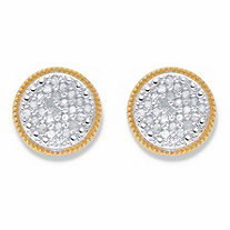 SETA JEWELRY Round DIamond Stud Earrings 1/4 TCW in 18k Gold over Sterling Silver (10mm)