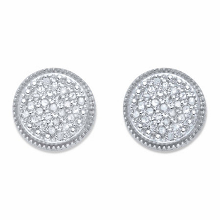 Round Diamond Cluster Stud Earrings 1/4 TCW in Platinum over Sterling Silver at PalmBeach Jewelry