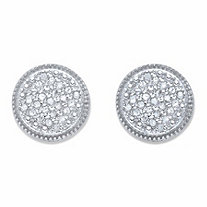 Round Diamond Cluster Stud Earrings 1/4 TCW in Platinum over Sterling Silver