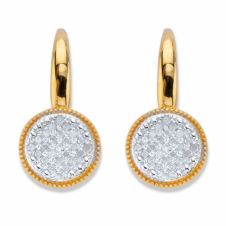 Round Diamond Two-Tone Cluster Earrings 1/4 TCW 18k Gold over Sterling Silver at PalmBeach Jewelry