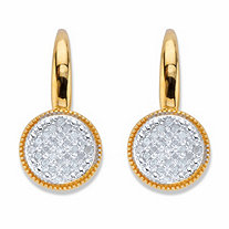 SETA JEWELRY Round Diamond Two-Tone Cluster Earrings 1/4 TCW 18k Gold over Sterling Silver