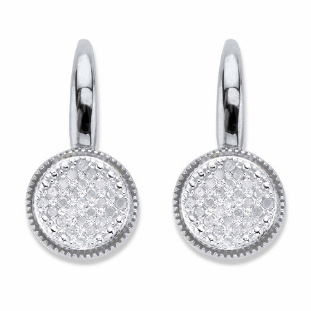 Round Diamond Two-Tone Cluster Earrings 1/4 TCW in Platinum over Sterling Silver at PalmBeach Jewelry
