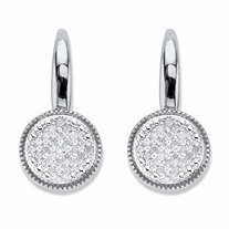 Round Diamond Two-Tone Cluster Earrings 1/4 TCW in Platinum over Sterling Silver