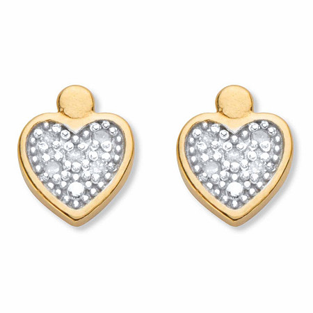 Round Diamond Accent Heart-Shaped Stud Earrings in 18k Gold over Sterling Silver at PalmBeach Jewelry