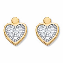 Round Diamond Accent Heart-Shaped Stud Earrings in 18k Gold over Sterling Silver