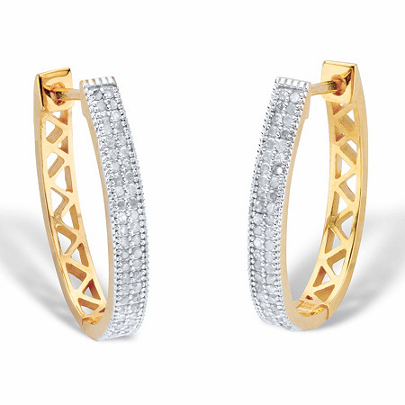 "Diamond Oval Lattice Hoop Earrings 1/2 TCW 18k Gold-Plated 1"" at PalmBeach Jewelry"