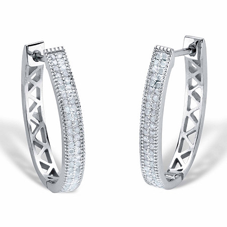 "Round Diamond Oval Lattice Hoop Earrings 1/2 TCW Platinum-Plated 1"" at PalmBeach Jewelry"