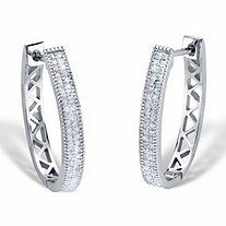 Round Diamond Oval Lattice Hoop Earrings 1/2 TCW Platinum-Plated 1