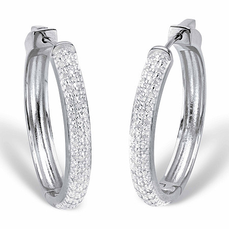 "Round Diamond Cluster Hoop Earrings 1/2 TCW Platinum-Plated 11/3"" at PalmBeach Jewelry"