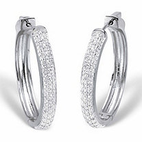 Round Diamond Cluster Hoop Earrings 1/2 TCW Platinum-Plated 11/3
