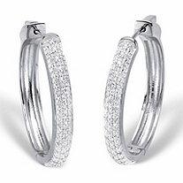 "Round Diamond Cluster Hoop Earrings 1/2 TCW Platinum-Plated 11/3"""