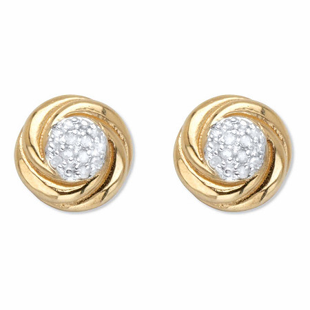Round Diamond Love Knot Stud 9mm Earrings 1/10 TCW in 18k Gold over Sterling Silver at PalmBeach Jewelry