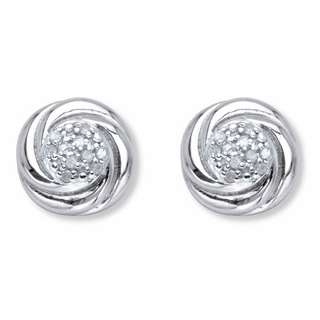 Round Diamond Love Knot Stud Earrings 1/10 TCW in Platinum over Sterling Silver at PalmBeach Jewelry