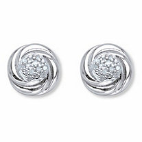 Round Diamond Love Knot Stud Earrings 1/10 TCW in Platinum over Sterling Silver