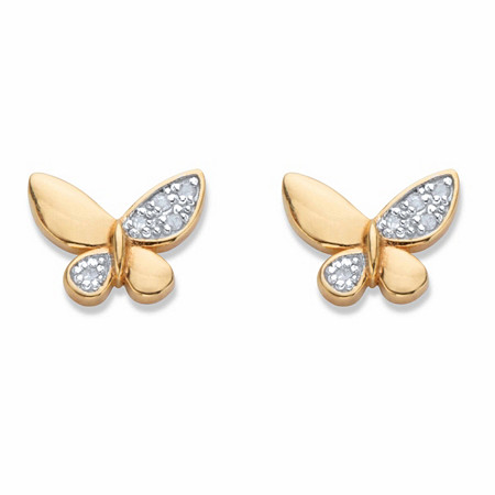 Diamond Accent Butterfly Stud Earrings 18k Gold-Plated at PalmBeach Jewelry