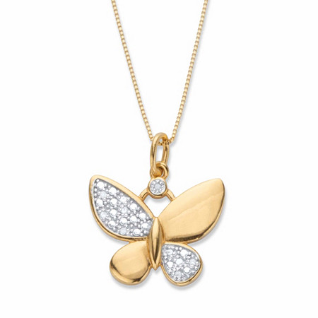 Diamond Accent Butterfly Pendant 18k Gold-Plated at PalmBeach Jewelry