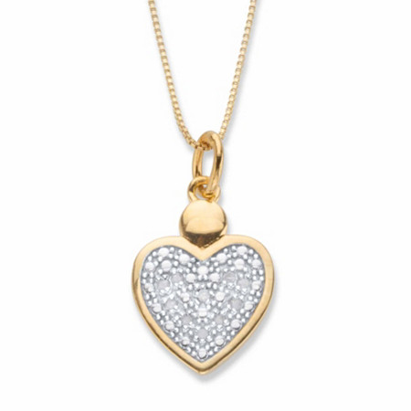 "Round Diamond Accent Two-Tone Heart Shaped Pendant Necklace 18k Gold-Plated 18"" at PalmBeach Jewelry"