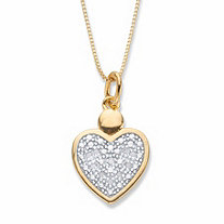 Round Diamond Accent Two-Tone Heart Shaped Pendant Necklace 18k Gold-Plated 18