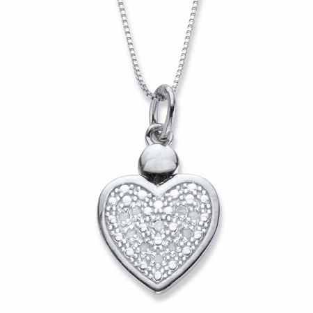 "Round Diamond Accent Heart-Shaped Pendant Necklace Platinum-Plated 18"" at PalmBeach Jewelry"