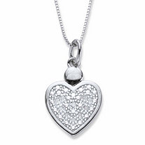 Round Diamond Accent Heart-Shaped Pendant Necklace Platinum-Plated 18
