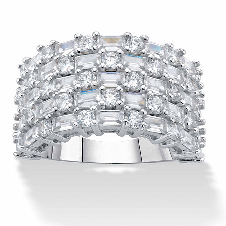 Baguette-Cut and Round Cubic Zirconia Multi-Row Dome Ring 4.51 TCW in Silvertone at PalmBeach Jewelry
