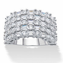 Baguette-Cut and Round Cubic Zirconia Multi-Row Dome Ring 4.51 TCW in Silvertone