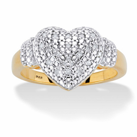 Round Diamond Heart-Shaped Cluster Ring 1/10 TCW in 18k Gold over Sterling Silver at PalmBeach Jewelry