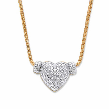 """Round Diamond Heart-Shaped Cluster Pendant Necklace 1/10 TCW in 18k Gold over Sterling Silver  16"""" at PalmBeach Jewelry"""