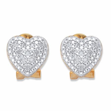 Round Diamond Heart-Shaped Stud Earrings 1/10 in 18k Gold over Sterling Silver at PalmBeach Jewelry