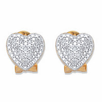 SETA JEWELRY Round Diamond Heart-Shaped Stud Earrings 1/10 in 18k Gold over Sterling Silver
