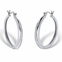 Round Diamond Accent Hoop Earrings in Platinum over Sterling Silver 1 1/3