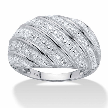 Round Diamond Multi-Row Dome Ring 1/10 TCW in Platinum over Sterling Silver at PalmBeach Jewelry
