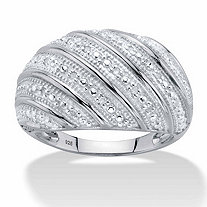 Round Diamond Multi-Row Dome Ring 1/10 TCW in Platinum over Sterling Silver