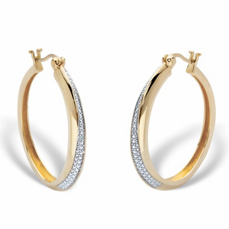 "Round Diamond Accent Hoop Earrings in 18k Gold over Sterling Silver 1 1/3"" at PalmBeach Jewelry"