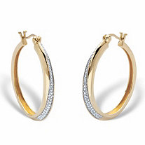 Round Diamond Accent Hoop Earrings in 18k Gold over Sterling Silver 1 1/3