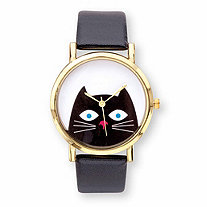 Cat Watch Goldtone with White Dial and Black Faux Leather Strap 9""