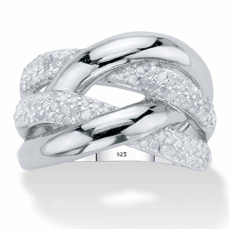 Round Diamond  Crossover Ring 1/2 TCW in Platinum over Sterling Silver at PalmBeach Jewelry