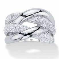 Round Diamond  Crossover Ring 1/2 TCW in Platinum over Sterling Silver
