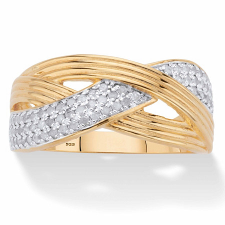 Round Diamond Grooved Crossover Ring 1/3 TCW in 18k Gold over Sterling Silver at PalmBeach Jewelry