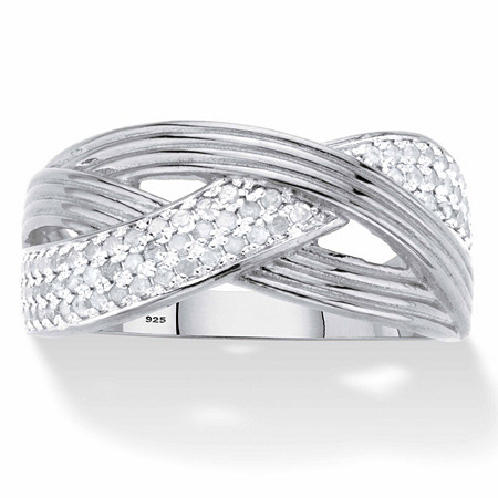 Round Diamond Grooved Crossover Ring 1/3 TCW in Platinum over Sterling Silver at PalmBeach Jewelry