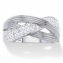 Round Diamond Grooved Crossover Ring 1/3 TCW in Platinum over Sterling Silver