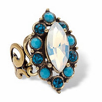 Marquise-Cut Aurora Borealis Crystal and Simulated Turquoise Antiqued Goldtone Adjustable Halo Ring