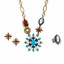 "Multi-Color Multi-Cut Crystal And Simulated Turquoise Antiqued Goldtone 3-Piece Necklace, Earring and Adjustable Ring Set 18""-20"""